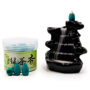 благовоние пули в форме конусов стелющийся дым Зелёный чай, 45 штук
