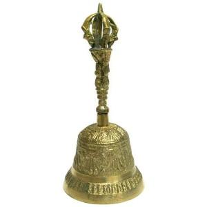 Тибетский поющий колокол Дрильбу с вайджрой, 17 см