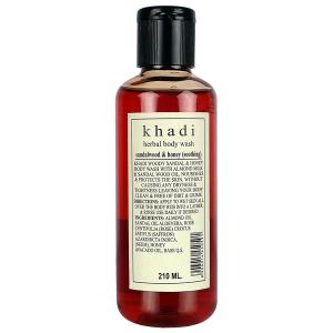 гель для душа Сандал и Мёд Кхади (Sandalwood & Honey herbal body wash Khadi), 210 мл