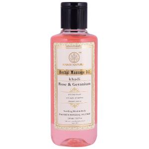 массажное масло с Розой и Геранью (Rose & Geranium Herbal Massage Oil Khadi), 210 мл