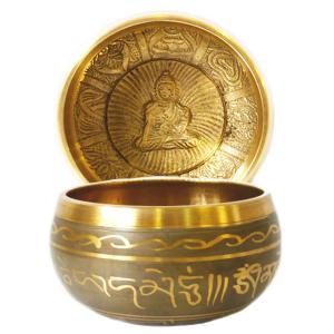 поющая чаша литая с барельефом для открытия чакр и медитации сплав 7 металлов, 10 см
