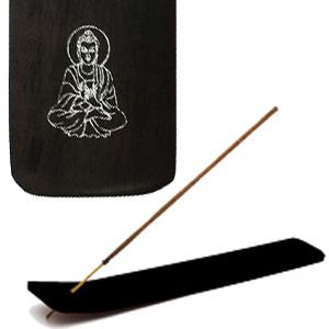 подставка для благовоний лыжа Будда цвет чёрный