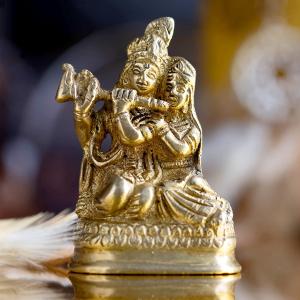 статуэтка из латуни Радха и Кришна, 6 см