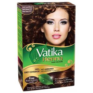 хна для волос Ватика цвет Тёмно-коричневый (Vatika Dark Brown), 60 грамм
