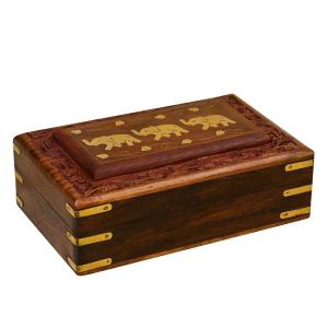 деревянная резная шкатулка с инкрустацией Три Слона, 20х13 см