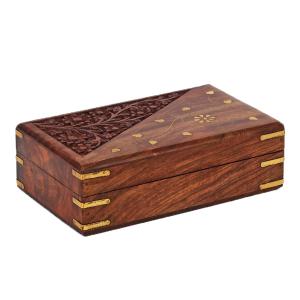 деревянная резная шкатулка с инкрустацией Двойственность, 20х13 см