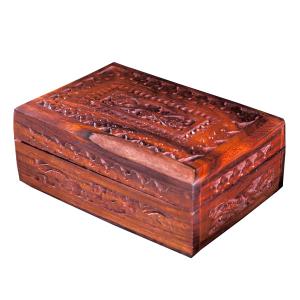 деревянная резная шкатулка Флора, 15х10 см