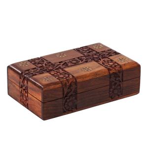 деревянная резная шкатулка с инкрустацией Цветочная Магия, 20х13 см