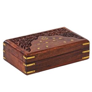 деревянная резная шкатулка с инкрустацией Магия Цветов, 20х13 см