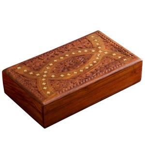 деревянная резная шкатулка с инкрустацией Око Мира, 25х15 см