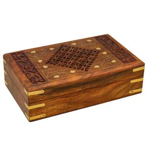 деревянная резная шкатулка с инкрустацией Ромб, 20х13 см